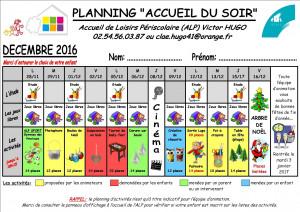 Planning decembre 2016